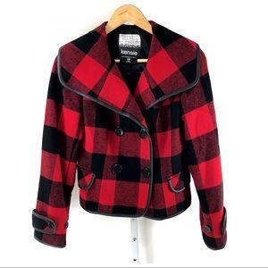 Kensie Wool Blend Red Buffalo Plaid Jacket XS